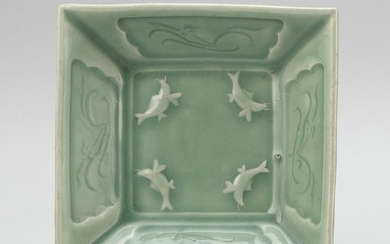 """CHINESE LONGQUAN CELADON PORCELAIN SQUARE DISH Four raised carp on interior and incised cartouches about the four edges. Height 2""""...."""