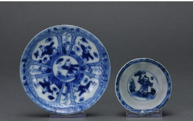 CHINESE QING BLUE AND WHITE PORCELAIN TEA CUP AND PLATE