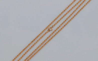 """Chain """" Sautoir """" yellow gold link chain, 750 MM, length 100 cm, spring ring, mint condition, weight: 14,9gr. gross."""