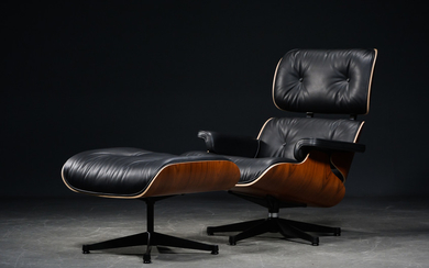 Charles Eames, Lounge Chair with matching footstool (2)