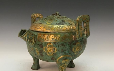 Chinese Bronze Gold Plating Tripod Censer