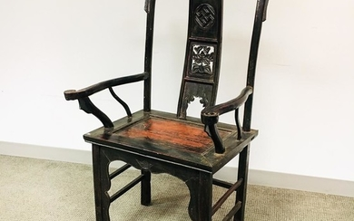 Chinese Carved and Lacquered Hardwood Armchair