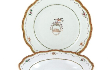 Chinese Export Armorial porcelain dinner and soup plates (35pcs)
