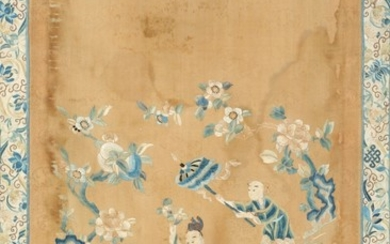 Chinese silk embroidery of deity riding a guardian and servants in a garden. Late Qing. Visible size 77×51 cm.