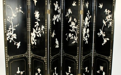 Chinoiserie 6 panel black lacquer screen
