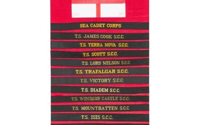 Circa 170 navy cap tallies, mostly from the British Sea Cadet Corps