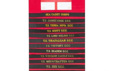 Circa 170 navy cap tallies, mostly from the British Sea