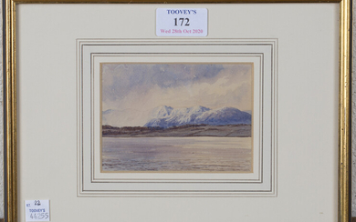 Circle of William Leighton Leitch - 'Hailstorm over Arran, Firth of Cyde', watercolour ove