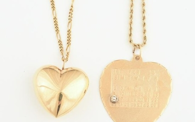 Collection of Two 14k Yellow Gold Heart Pendant
