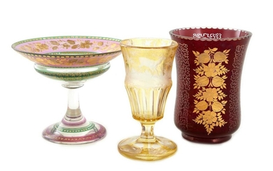 Continental gilded and etched glass vases and compote (3pcs)