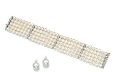 Cultured pearl and diamond bracelet and a pair of earrings
