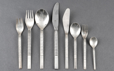 Cutlery services in punched Spanish silver, modern design,...