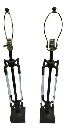 Deco Glass Rods Bronze Table Lamps with Cast Marble