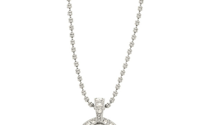 Diamond, White Gold Pendant-Necklace The pendant features a full-cut...