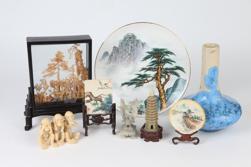 EIGHT ASSORTED CHINESE TABLE-TOP ORNAMENTS. Includes blue and white iridescent...