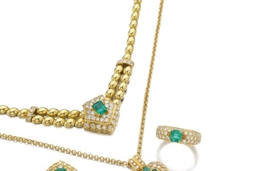 EMERALD AND DIAMOND PARURE AND AN EMERALD AND DIAMOND PENDANT NECKLACE