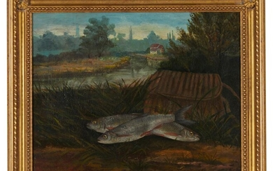 EUROPEAN SCHOOL (19th/20th century) Fish catch oil on canvas