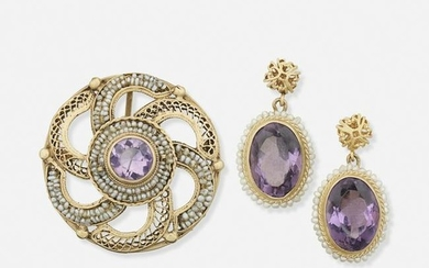 Early 20th century amethyst and seed pearl jewelry