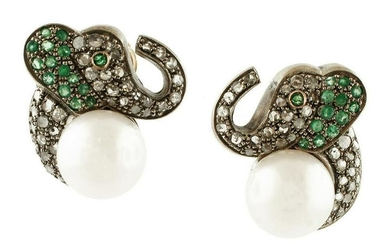 Elephant Earrings, Pearls, Diamonds, Emeralds, 18k