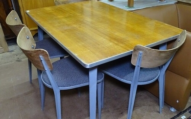 Ernest Race, a mid-century set of 4 BA chairs and matching B...