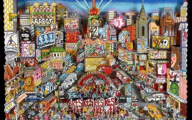 LARGE CHARLES FAZINNO 3-D LITHOGRAPH BROADWAY