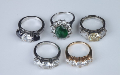 """FIVE FAUX DIAMOND AND COLORED STONE """"TRAVEL RINGS"""". Including one..."""