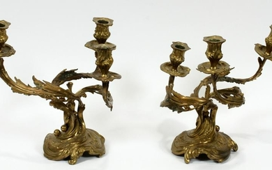 FRENCH BRONZE CANDELABRAS PAIR C. 1900