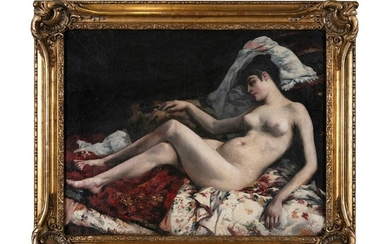 FRENCH SCHOOL (19TH CENTURY)Odalisque reclining on a divanOil...