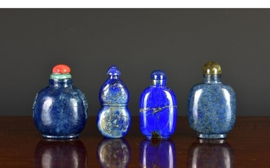 Four Chinese lapis lazuli snuff bottles, 20th century, the f...