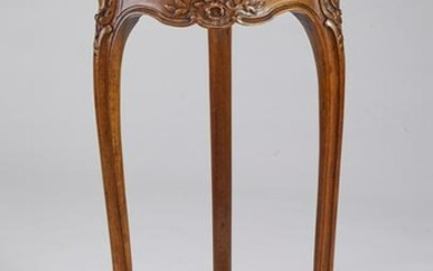 French Louis XV style marble top walnut side table