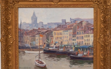 """GEORGES CHENARD-HUCHE (FRENCH, 1864-37), OIL ON CANVAS, H 13.5"""", W 16"""", FRENCH RIVERFRONT"""