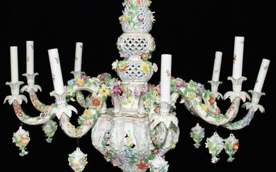 GERMAN DRESDEN 9 LIGHT PORCELAIN CHANDELIER