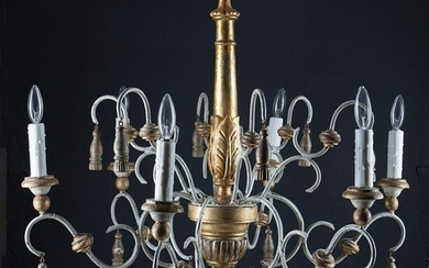 Giltwood and Painted Metal Chandelier