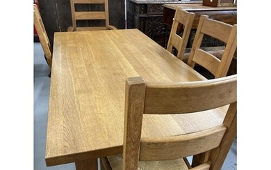 Good quality solid oak modern extending dining table with a ...
