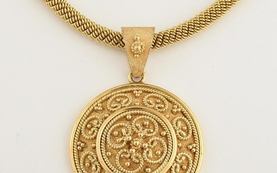 Greek 18k Yellow Gold Pendant Necklace.