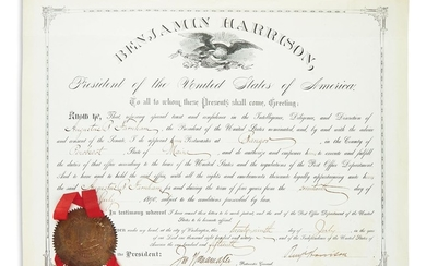 "HARRISON, BENJAMIN. Partly printed Document Signed, ""BenjHarrison,"" as President"