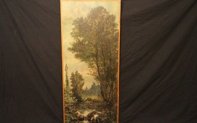 HST MOUFLED ON PANEL WITH LANDSCAPE DECORATION AND...