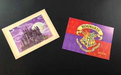 J.K. ROWLING. Two colored postcards with the signature