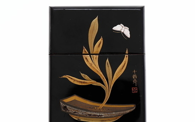 Japanese card holder in lacquered wood, early 20th Century.