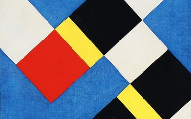 """Knud Hvidberg: """"LUDO shafen"""", 1965. Signed, titeld and dated on the reverse. Oil on canvas. 46×42 cm."""