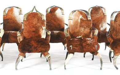 LOT OF 8: COW HORN SIDE CHAIRS.