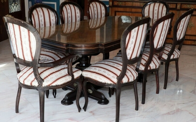 """LOUIS XVI STYLE DINING TABLE & 8 CHAIRS, H 31"""", W 80"""", D 41"""" (TABLE)"""