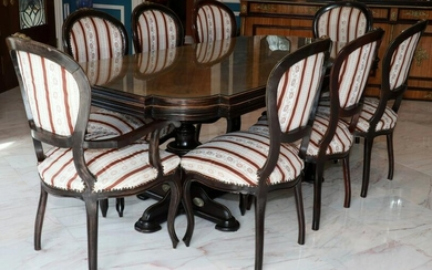 LOUIS XVI STYLE DINING TABLE & 8 CHAIRS