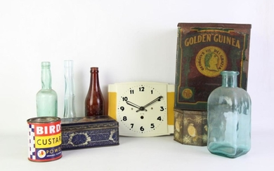 Large Collection of Vintage Australian Tins and Bottles, Incl. Arnotts Tin, Golden Guinea Tea Tin and others