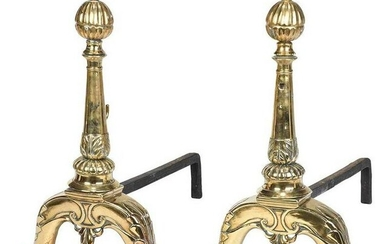 Large Pair of Victorian Brass Andirons