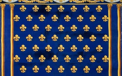 Large panel of a wallpaper hanging with the Armes de France and the monogram of Charles Philippe de France, later Charles X, circa 1820-1825