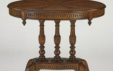 Late 19th c. walnut marquetry occasional table