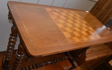 Late VICTORIAN games table with chessboard feature top and t...