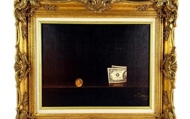 Magnificent Lithograph Still Life Money & Coin by