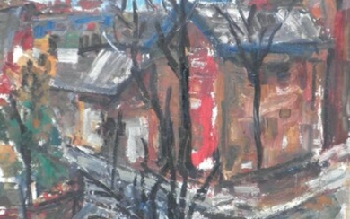 Michal Auerbach (b. 1939), Street in a City on a Winter Day